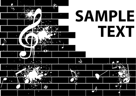 Illustration of a grunge graffiti with music notes on a brick wall