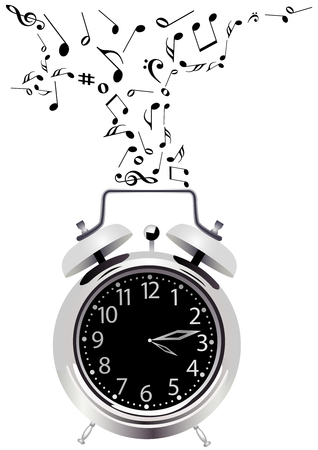 harmony idea: Illustration of a detailed clock with music notes Illustration