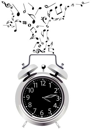 Ilustración de un reloj detallado con notas de música
