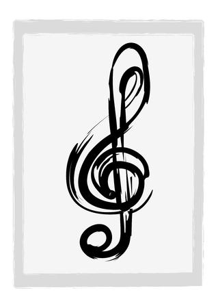 Illustration of a grunge G clef Vector