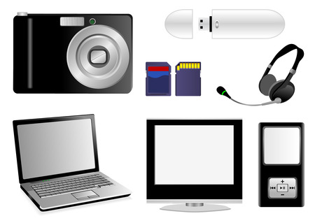 Set of multimedia elements isolated on white Vector