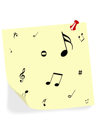 transcription: Abstract illustration of some yellow notes with music notes