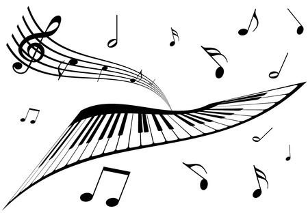 Illustration of a piano, a stave and music notes Illustration