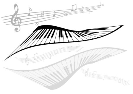 stave: Abstract illustration of two pianos and two stave