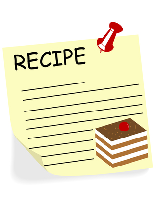 cookbook: Illustration of a yellow note with text for a recipe