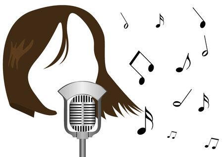 Ilustración de un micrófono y una niña cantando