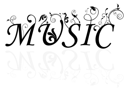 Abstract illustration of the music word with swirls Vector