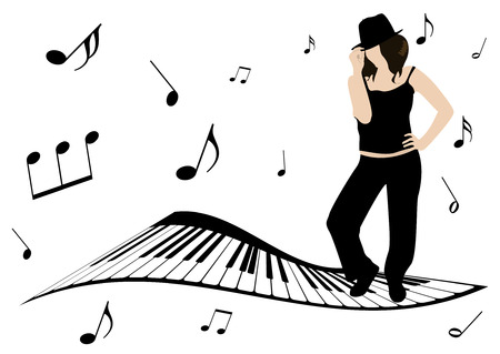 Illustration of a piano, music notes and girl singing Vectores