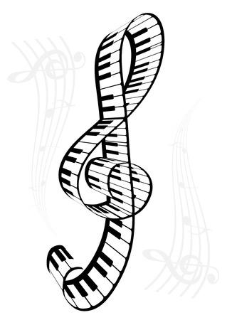 Ilustración de un piano y madera