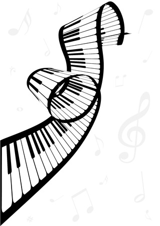Illustration of a piano and music notes Vectores