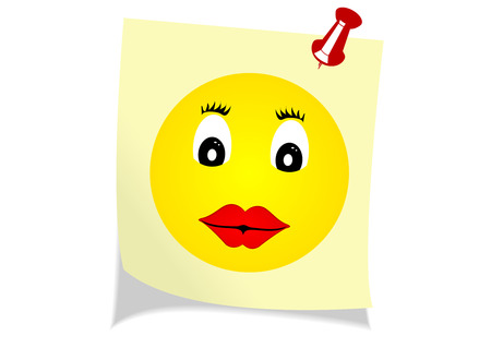 postit note: Illustration of a yellow note with a happy face Illustration