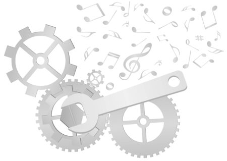 octaves: Set of gears and wrench with music notes