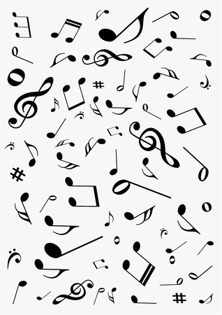 octaves: Abstract gray background with music notes Illustration
