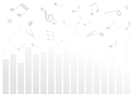 equalizer: Abstract illustration with volume bars and music notes