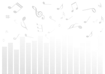 levels: Abstracte illustratie met volume bars en muziek noten  Stock Illustratie