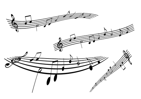 octaves: Illustration of a stave on white background