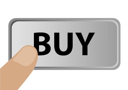 buy button: Illustration of a finger pressing buy button Illustration