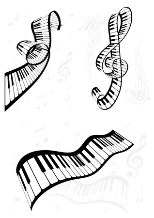 Set of curvy abstract music backgrounds