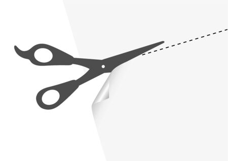 Illustration of a template and a scissors with cut lines Vector