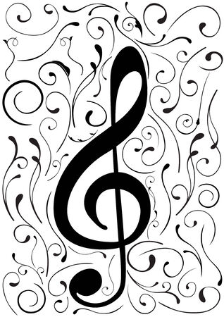 Conceptual illustration of a G clef Vector