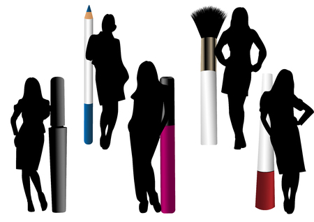 Make-up objects isolated with female silhouettes Illustration