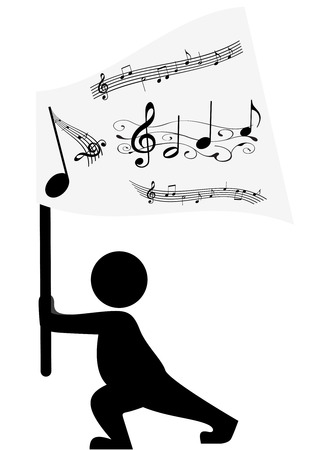 musicsheet: Illustration of a silhouette streaming a flag with stave Illustration