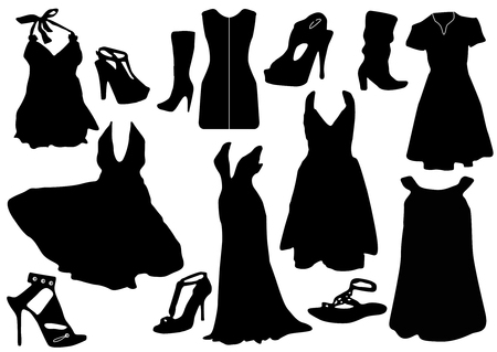 Illustration of some black dresses with shoes Vector