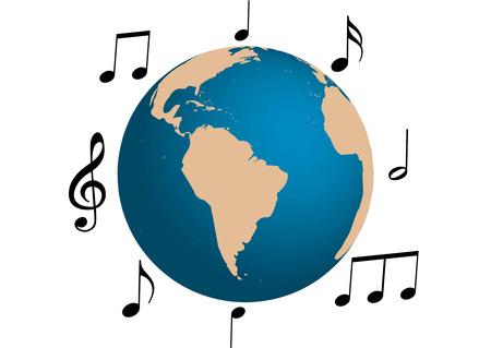 country music: Illustrazione di musica intorno al mondo