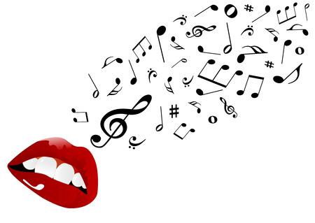 cantando: Ilustraci�n de labios rojos cantando  Vectores