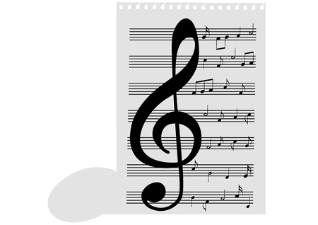 transcription: Illustration of a music-sheet and a music note