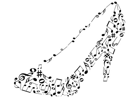 Conceptual illustrations of a shoe with music notes Illustration