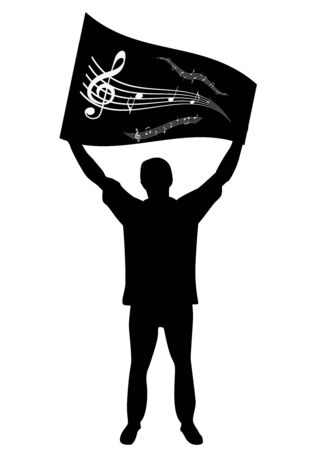 musicsheet: Illustration of a man streaming a flag with stave