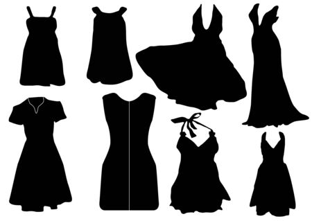 Illustration of some black dresses Vector