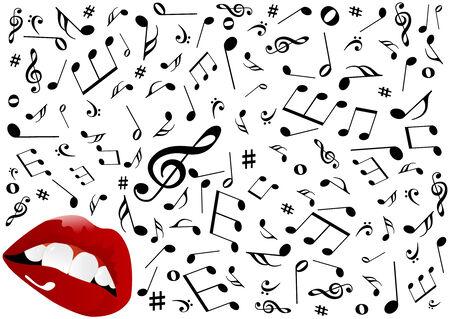 rockstar: Illustratie van rode lippen zingen  Stock Illustratie