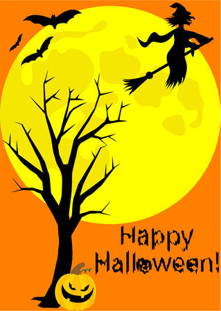 nocturnal: Happy Halloween illustration with witch Illustration