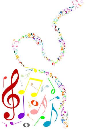Fondo musical con notas de color de música  Ilustración de vector