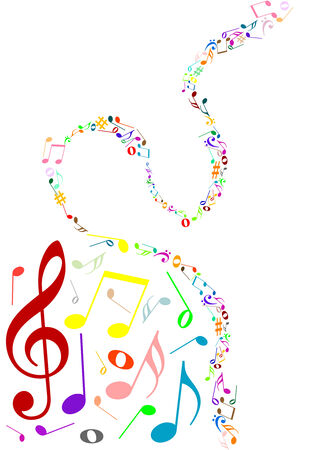 musical notation: Musical background with colored music notes Illustration