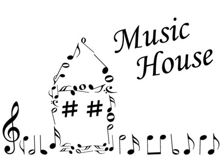 Illustration of an abstract house with music notes