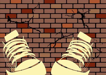 Grunge Illustration einer verwitterten Wand und sneakers Vektorgrafik