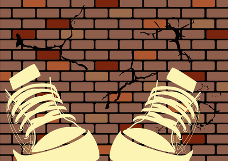 moda casual: Ilustraci�n de grunge de un muro de degradado y zapatillas de deporte