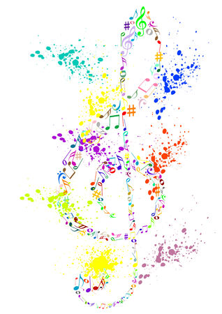 g clef: Illustration of a colored stained G clef with music notes Illustration