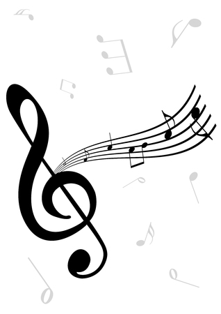 Abstraer la ilustración de un Clef G, un notas de madera y música