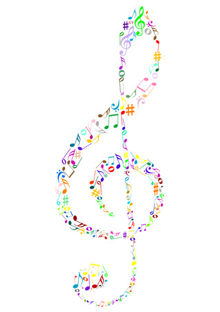 retro music: Illustration of a colored G clef with music notes