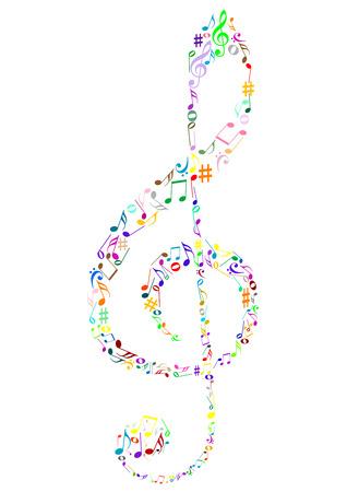 popular music concert: Illustrazione di un colorato clef G con note di musica