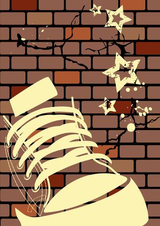 emo: Grunge illustratie van een verweerde muur en sneaker Stock Illustratie