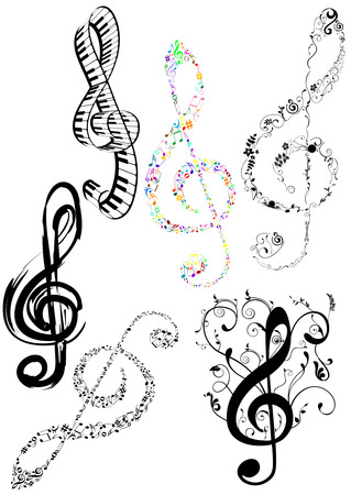 composer: Abstract illustration of some G clef on white background Illustration