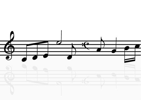 tabique: Ilustraci�n de un pentagrama con reflexi�n Vectores