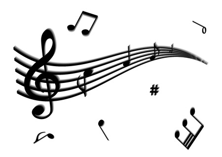 octaves: Illustration of a stave and some music notes