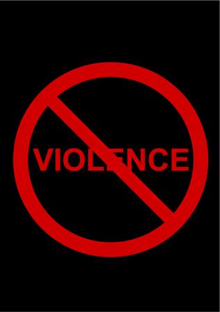violent: Stop violence illustration on black background Illustration