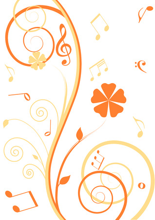 Floral Background with music notes